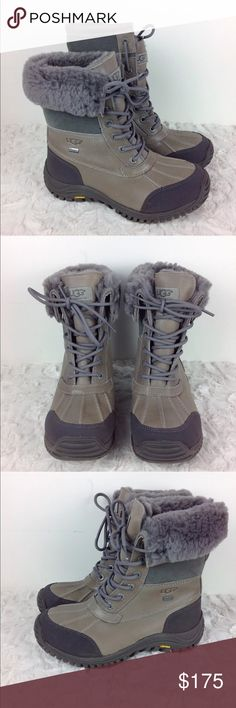 7ad62b9d8033a UGG Adirondack II Grey Waterproof Lace Up Boots Fits true to size. Don t  order down a size. Waterproof full-grain leather with sheepskin lining and  cuffable ...