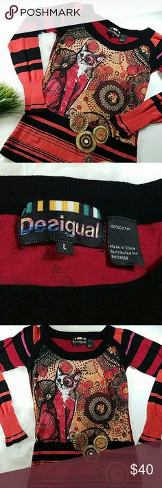 """Desigual crazy cat sweater Crazy sweater with cat on the front, long sleeves, striped.  On the back, it says """"make something good"""". 100% cotton.  Excellent condition.  Sz large  (fits like a small). Desigual Sweaters"""