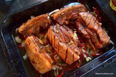 Friptura de porc la tavă cu vin, usturoi si legume   Savori Urbane Tasty, Yummy Food, Healthy Nutrition, Carne, Steak, Martha Stewart, Pork, Delicious Food, Healthy Food