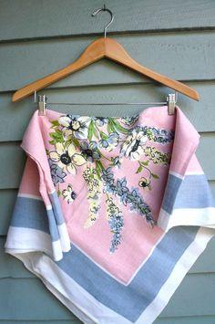 Vintage Tablecloth Pink Printed Linen by LunaParkVintage on Etsy, $75.00
