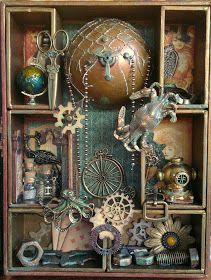Ladies, here today to share with you my Steampunk shadow box I made using a TH shadow box kit and Steampunk Debutante papers from . Arte Steampunk, Steampunk Crafts, Steampunk Clothing, Steampunk Airship, Steampunk Accessories, Renaissance Clothing, Gothic Steampunk, Victorian Gothic, Steampunk Fashion