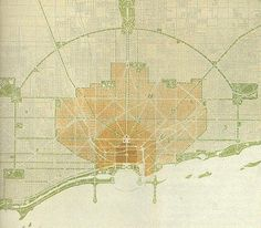 """Daniel Burnham,the Plan of Chicago, 1909: he envisioned Chicago being a """"Paris on the prairie."""" This was the first plan for controlled growth of an American city. He declared that every citizen should be within walking distance of a park. Though only parts of the plan were actually implemented, it set the standard for urban design, anticipating future need to control unexpected urban growth, and continued to influence the development of Chicago long after Burnham's death."""