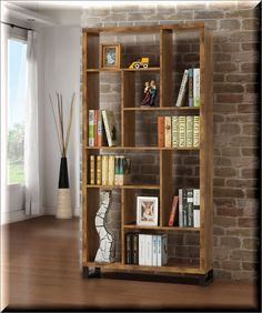 Bookcase Storage Organizer Wood Antique Nutmeg 10 Shelves Office Living Room  | eBay