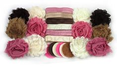 Our Rustic Romance kit includes enough supplies to make 6 double-flower or 12 single-flower headbands:  (12) 2.5 Shabby Flowers (12) 1.5