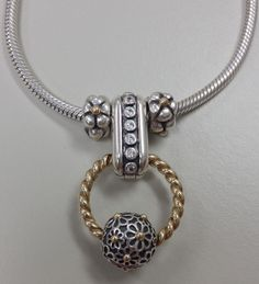 PANDORA Necklace Made With Double Clip n Gold Ring.