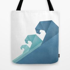 Wave geometric art Tote Bag #totebag #tote #totes #beachbag #summerbag #summer #ocean #waveprint #art #trend #arttote #sea