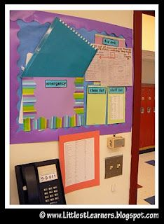 Info. Center by class door (fire alarm, student list & #, medical info)