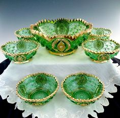 Antique glass berry bowl set green gold Memphis Northwood c.1907
