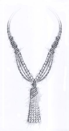Stephen Webster Original Sketch from the Forget Me Knot Collection. [These designs are wholly owned by Stephen Webster and cannot be reproduced, replicated or copied in any way, in part or in full.]