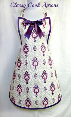 Apron GLITTERED Purple & Mauve DAMASK, Elegant GLAMOUR Holiday Hostess, Pretty Party Unique Gift, by ClassyCookAprons, $36.50