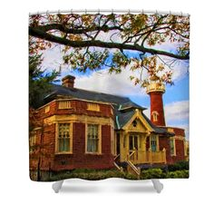 Kelly Drive Boathouse Shower Curtain by Alice Gipson