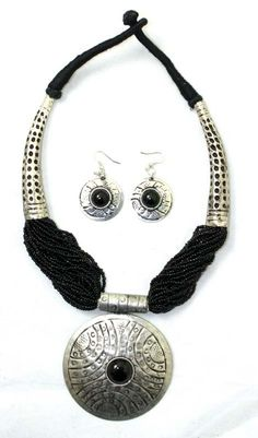 Beaded Breastplate Necklace Set: Black