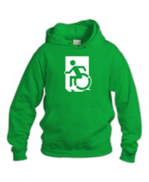 Accessible Means of Egress Icon (Wheelie Man Left Hand) Wheelchair Exit Sign Design Sign Design, Sweatshirts, Cart, Cotton, Exit Sign, Signs, Running Man, Hall Runner, Hoodies