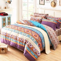 Aqua Orange Purple and White Byzantine Themed Bohemian Style Luxury Tribal Indian Pattern 100% Cotton Damask Full, Queen Size Bedding Sets