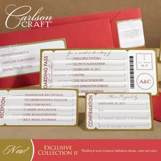 Planning a destination wedding or are you using a travel theme for your wedding?  This ticket wedding invitation ensemble from the Exclusive Collection II album from Carlson Craft is sure to get your guests excited for the big day.  www.keyformsandgraphix.com