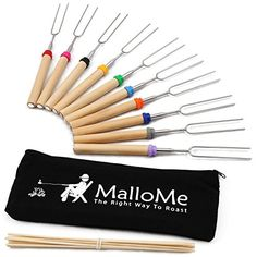 marshmallow sticks MalloMe Marshmallow Roasting Sticks Set of 10 Telescoping Rotating Smores Skewers & Hot Dog Fork 30 Inch Kids Camping Campfire Fire Pit Accessories Marshmallow Roasting Sticks, Roasting Marshmallows, Fire Pit Accessories, Camping Accessories, Smores Kits, Fire Pit Cooking, Bbq Skewers, Bbq Tools