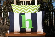 Modern Navy and White Striped Lumbar Pillow Cover with Candy Pink Felt Monogram    Customized Monogram pillow. Perfect…
