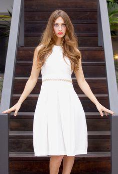 White Jewel-Neck Pleat Dress with Beaded Waist & by kajanistudio