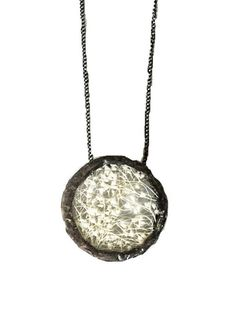 Soldered Glass Circle Baby's Breath Pendant