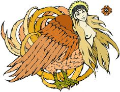Alkonost - in Russian folklore a creature with the body of a bird and the head of a beautiful woman. Alkonost make a sound so beautiful you forget everything and want nothing ever again. They live in the underworld with their counterpart, sirens.