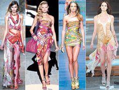 The Silk Scarf Route: Haute Gone Hippie.    #TotallyMyStyle <3    S/S 2012: (from left) Emilio Pucci, Salvatore Ferragamo, D, Just Cavalli