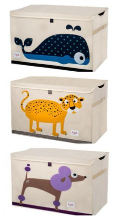 Really cute new fabric toy chests for kids' rooms, and the price is fantastic. (Can't pick a favorite though!)