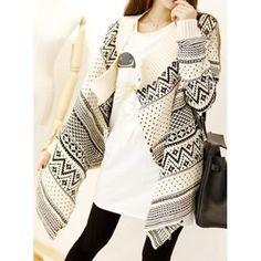 Trendy Style Jacquard Pattern Irregular Long Sleeve Women's Cardigan, OFF-WHITE, ONE SIZE in Sweaters & Cardigans   DressLily.com