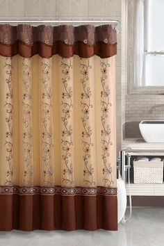 amazoncom twolayered embroidered fabric shower curtain with attached valance cinnamon