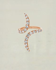 Haute Open Ended Knuckle Ring in Rose Gold with Cubic Zirconia Sivalya