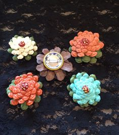 Pinecone flower brooches by Cat Nyman