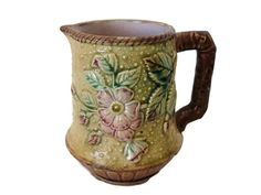 Antique Majolica cream pitcher dogwood pattern by #SelectiveSalvage #etsy #virtuosoetsy #tvteam
