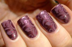OPI I'm Feeling Sashy stamped with China Glaze Joy
