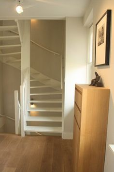 Attic staircase design, pictures, remodel, decor and … - Modern Attic Staircase, Loft Stairs, Basement Stairs, Staircase Design, House Stairs, Space Saving Staircase, Staircase For Small Spaces, Spiral Staircases, Narrow Staircase