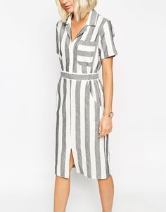 Image 3 of ASOS Shirt Dress in Natural Fibre Stripe