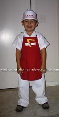 Homemade In-N-Out Costume: This costume was so easy to make... I made it the day before Halloween!  I bought a child's red apron at Joann's Craft Store, used some fabric paint and