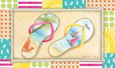 "Flip Flop Beach Sublimated Floor Mat by House-Impressions. $18.99. 30"" x 18"". Nonslip recycled rubber backing. Withstands high traffic and wear. Welcome visitors to your home during the summer months with this colorfully designed sublimated floormat. Made of non-slip recycled rubber materials, this floormat will withstand wear and maintain its bright colors for years to come!. Save 33%!"