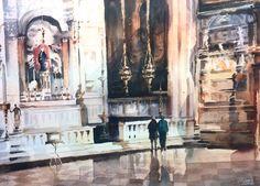 """Inside the Frari, Venice"" watercolour by Trevor Waugh"