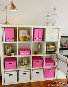 ♡NEW OFFICE Ikea storage and organization pink boxes from ikea Apothecary jar . - Ikea DIY - The best IKEA hacks all in one place Office Color Schemes, Home Office Colors, Home Office Space, Home Office Decor, Home Decor, Office Ideas, Ikea Office, Office Spaces, Pink Office Decor
