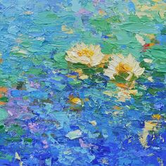 """""""Midday Breeze,"""" 40"""" x 40"""", acrylic on canvas by American Impressionist Lisa Palombo. For more information : info@lisapalombo.com or www.lisapalombo.com #waterlily #impressionism"""