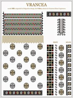 Semne Cusute Russian Embroidery, Embroidery Sampler, Folk Embroidery, Shirt Embroidery, Embroidery Patterns, Cross Stitch Borders, Cross Stitch Patterns, Moldova, Mosaic Art