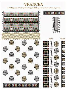 Semne Cusute Russian Embroidery, Embroidery Sampler, Folk Embroidery, Shirt Embroidery, Embroidery Patterns, Cross Stitch Borders, Cross Stitch Patterns, Moldova, Hama Beads