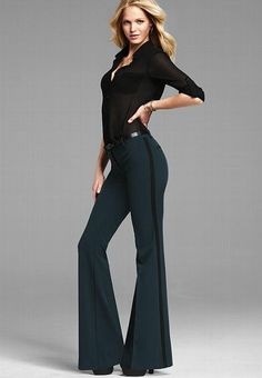 Winter Business Wear: Flared Pants---The pants, not the slutty shirt.