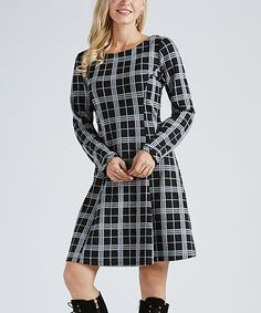 Look at this Black & White Plaid Scoop Neck Sheath Dress - Plus Too on #zulily today!