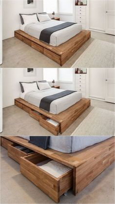 Hey guys! I'm support to part the simple DIY Platform Bed that I made for my son :) If you missed the free Plans for the Planked Headboard, you can check them out HERE! I wise saying a platform bed in a West Elm catalog and loved how chunky the base and platform were.#bedroomideaswithplatformbeds