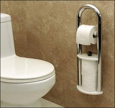 Caregivers with live in parents, this is a perfect addition to your bathroom! It's a Toilet Paper Roll Holder and Grab Bar Combo - It doesn't look like your typical bathroom grab bar. Love it!