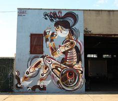 brooklyn-street-art-reka-jaime-rojo-11-12-web-6 Graffiti Murals, Murals Street Art, Street Art Graffiti, Modern Art, Contemporary Art, Sidewalk Chalk Art, Chalk Drawings, Building Art, Art Installations