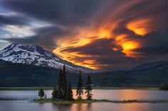 Lenticular clouds above the South Sister and Sparks Lake, Deschutes County, Oregon - photo by Majeed Badizadegan