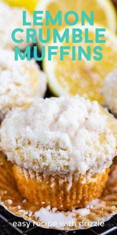 Lemon Muffins are the BEST bakery style muffin recipe with lemon and a delicious crumble topping. These can easily be made gluten free, too! Lemon Recipes, Sweet Recipes, Pie Recipes, Cookie Recipes, Healthy Recipes, Bakery Style Muffin Recipe, Bakery Style Cake, Muffin Recipes, Baking Recipes