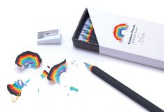 Made from recycled paper, rainbow pencils let you create beautiful paper rainbows when you sharpen them. Rainbow Pencils function like regular wooden pencils, and are the same size and weight, but the Gadgets, Cute Stationary, Cute School Supplies, Fun Office Supplies, Cool Inventions, Interactive Design, Back To School, Stationery, Projects