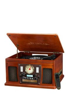 Victrola Wood 8-In-1 Nostalgic Bluetooth Record Player With Usb Encoding And 3-Speed Turntable - No Size:Mahogany - One Size